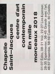 D. E. CHAPELLE SAINT JACQUES ART CENTRE -Programme Cover (2018)-110